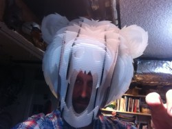 I made this larger rehearsal mask for bear, which also allowed me try out a few different attachement methods.