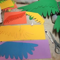 Feathers were cut from craft foam to match Durandarte's color palette