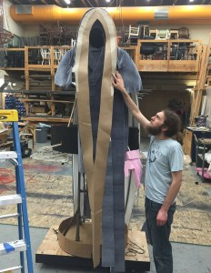 The order of operations was difficult—and necessary—to determine, much like constructing a garment in a costume shop. The pieces were unwieldy, so it was very nice to have assistance from student workers.