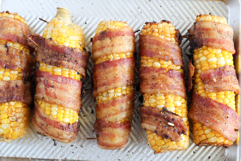 bacon wrapped smoked corn