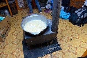 Boiling horse milk