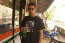 This is one of the t-shirts Ridvan and I had made up. We never created the t-shirt empire we intended, but we did end up wearing quite a few of them... our brand-name was 'LidStone' - because the Thai pronounced 'Ridvan' as 'Lidvan', and my nickname was Stoney...