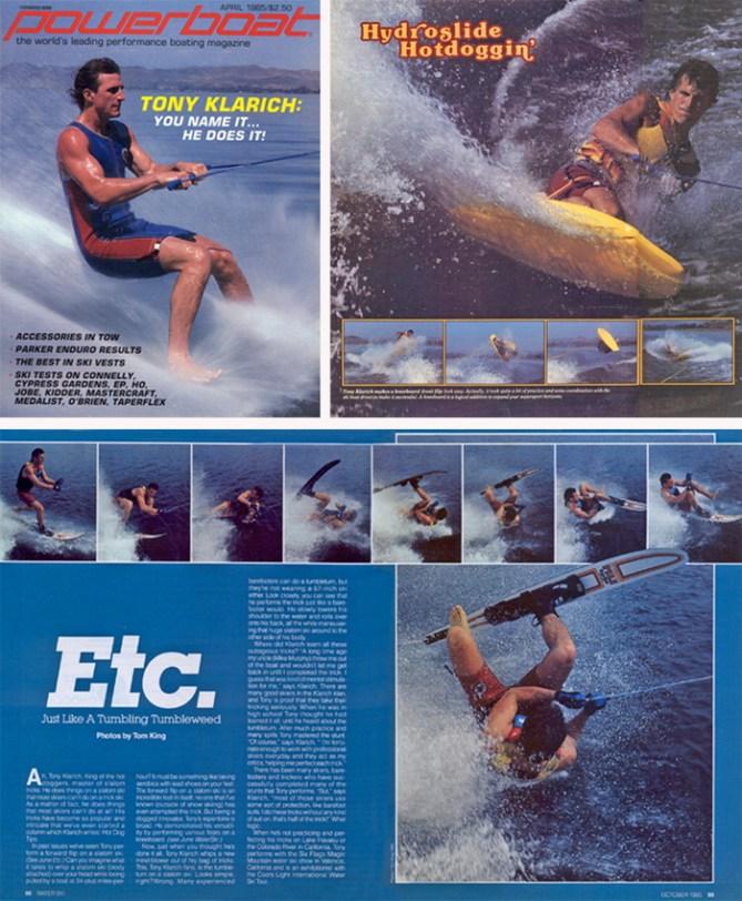Klarich water skiing barefoot kneeboard slalom tricks