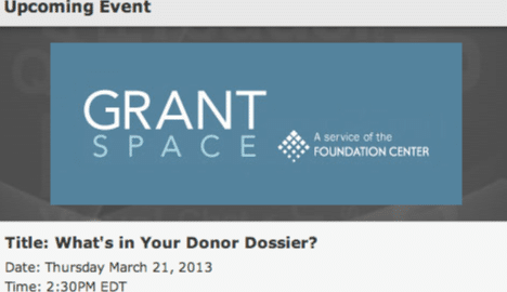 """GrantSpace logo and title of prospect research chat, """"What's in Your Donor Dossier?"""""""