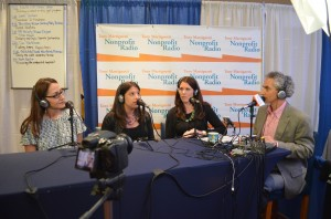 Picture of Tony Martignetti interviewing Sheila Kelly, Pamela Mohr, & Wendy Kleinman at Fundraising Day New York 2013
