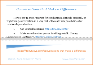 .PDF of 12 Step Program for conducting a difficult, stressful, or frightening conversation