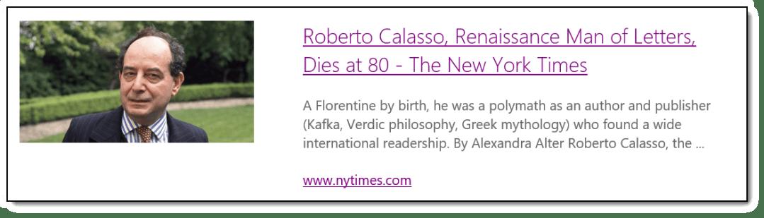 Calasso Obituary