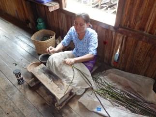 Lotus stems cut into thread