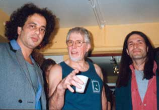 John Mizarolli, John Mayall and Tony Natale at the Sheperds Bush Empire in London.