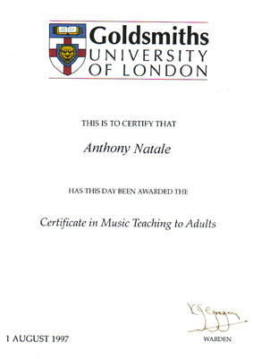 Certificate for Teaching Music, CMTA, Goldsmiths University, London, England