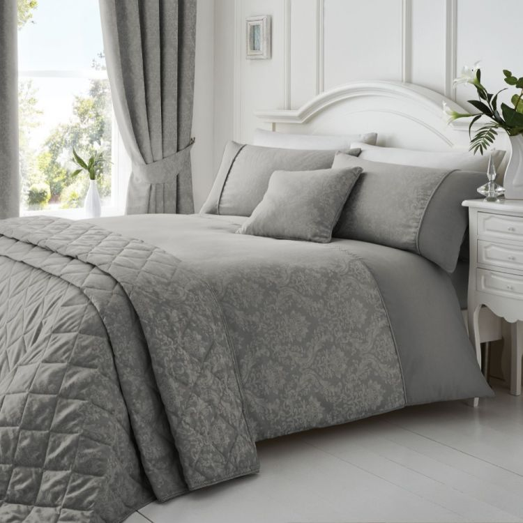 Laurent Damask Jacquard Duvet Cover Set Graphite