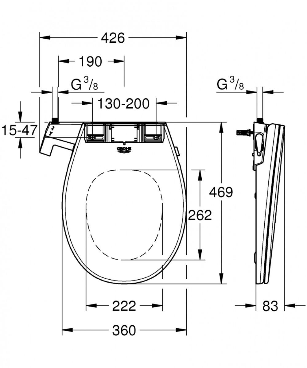 Grohe Bau Ceramic Manual Non-electric bidet seat