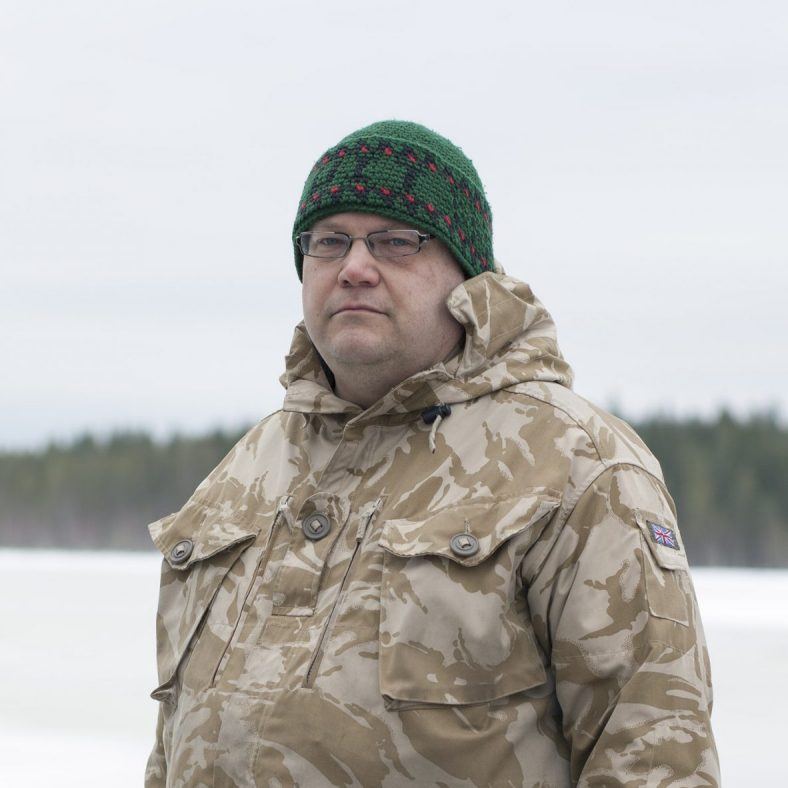 Tero Mustonen, fisherman, researcher, head of the Selkie village and head of Snowchange, an NGO workign on indigenous rights and natural habitat preservation, here in front of the Jukajoki river in Kontiolahti. The river and its fauna had received severe damage due to peat mining  contamination. This started a collaborative land and water project based on the shared knowledge and interests of local  fisherman, hunters, scientists. Today the project is a model for boreal catchment area restoration.
