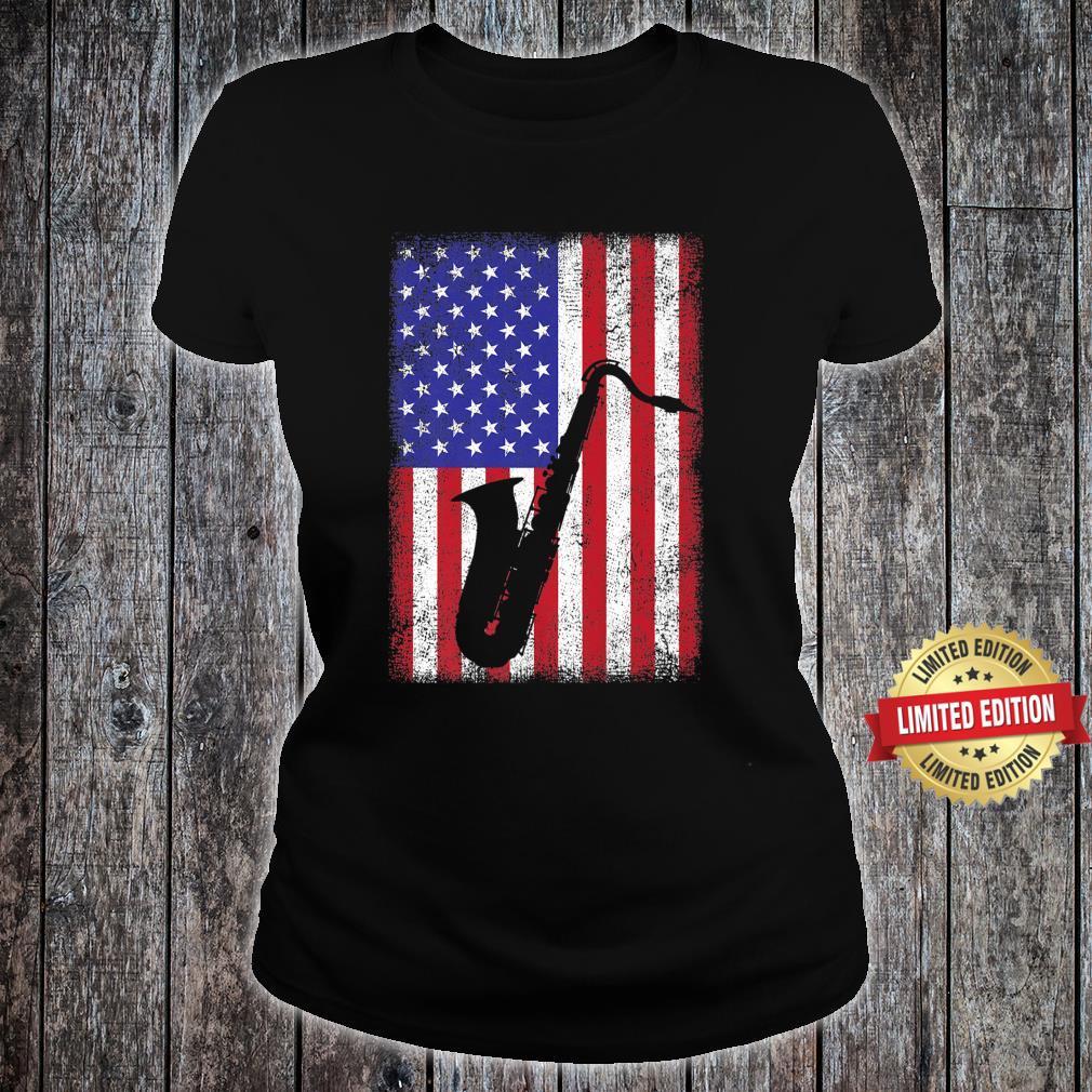 Vintage Retro American Flag Saxophone Music Shirt ladies tee