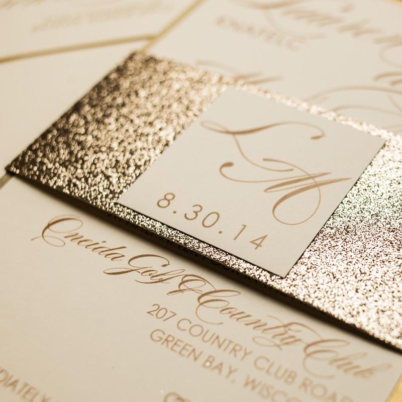 Chagne Glitter Wedding Invitations