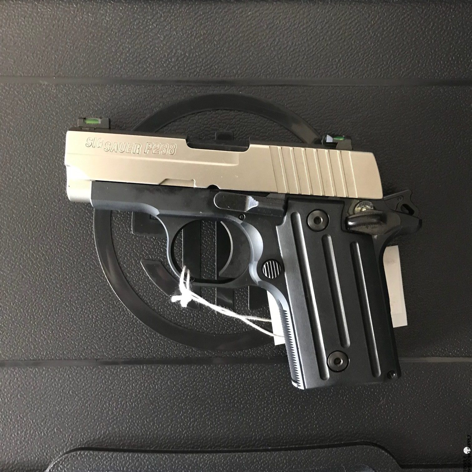 hight resolution of sig sauer p238 380 acp pistol with two tone finish x green sights stainless slide black alloy frame 6rd sig sauer 238 380 sp 1