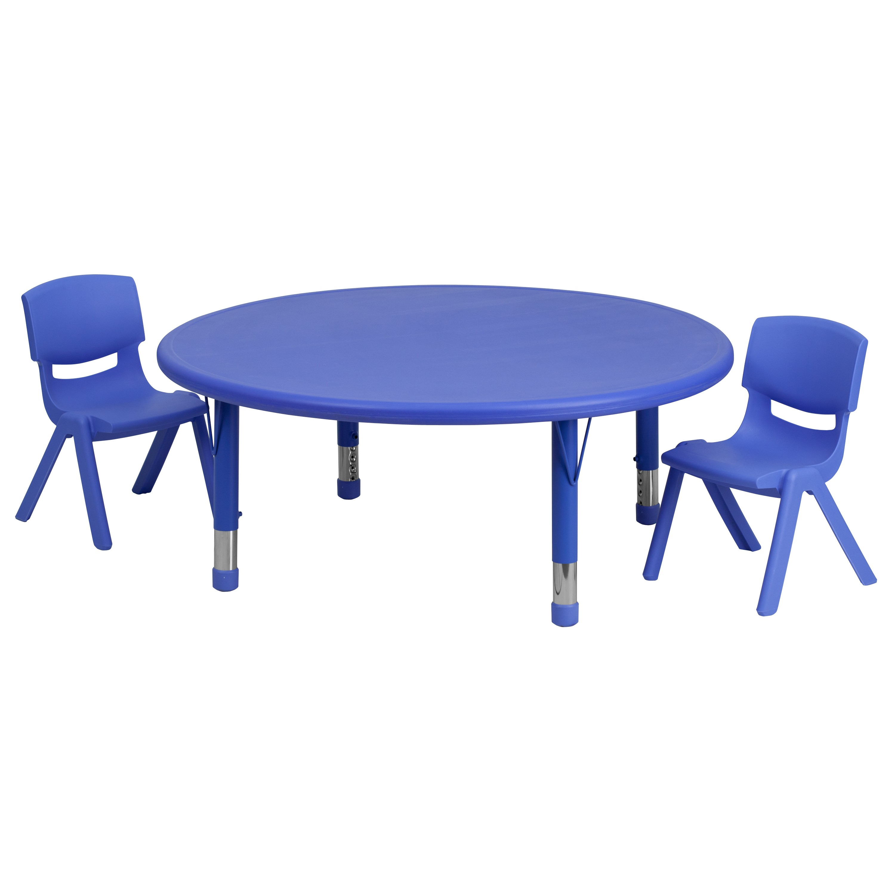 Activity Chair Mfo 45 Round Adjustable Blue Plastic Activity Table Set With 2 School Stack Chairs