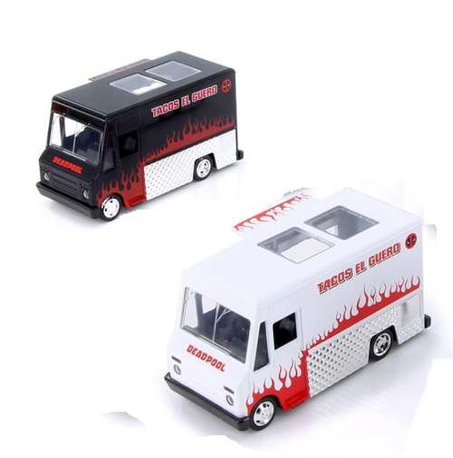Auto de Colección Taco Truck Deadpool Welly Diecast Metal Deadpool Marvel Escala 1/24
