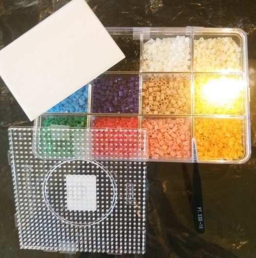 Kit Organizador Cuentas Hamma Hamma Didacticos 12 Colores 3000 Piezas + Placa + Pinza