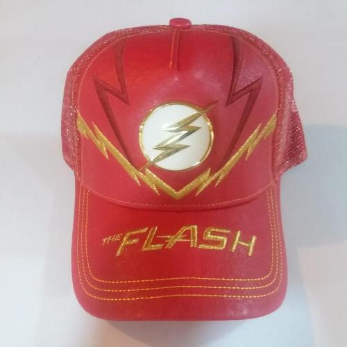 Gorra Flash PT Flash DC Comics Plana Serie TV con Rayos Amarillos y Negros Logo Metálico