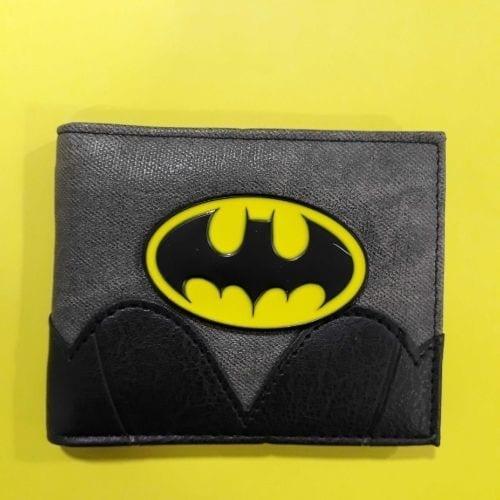 Billetera Batman Logo Metálico PT Batman DC Comics Cuerina Gris y Negro