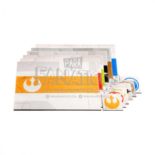 Juego De Individuales 6 puestos Star Wars Gris Claro ParaFanaticos Star Wars Incluye Portavasos