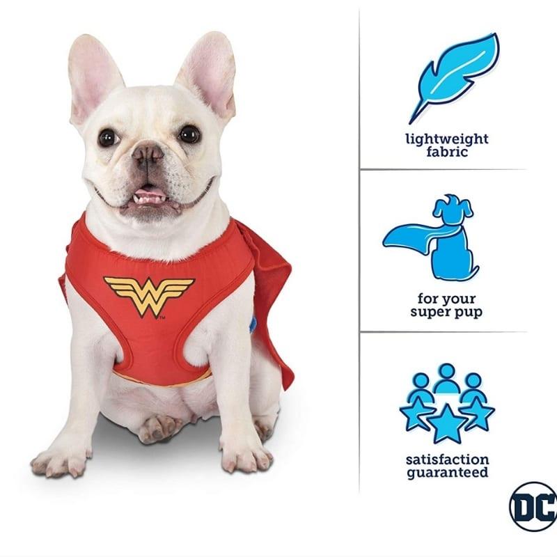 Arnes Disfraz Para Mascota Mujer Maravilla Fetch DC Comics Talla M Raza Pequeña