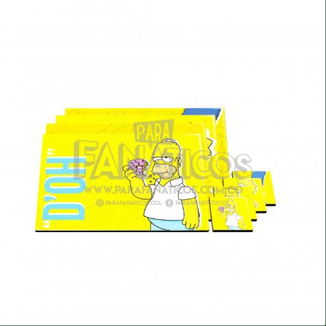 Juego De Individuales 6 puestos Los Simpsons ParaFanaticos Animados Incluye Portavasos