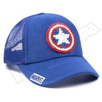 Gorra Malla Escudo Pictograma Capitán América Marvel Pixel Art