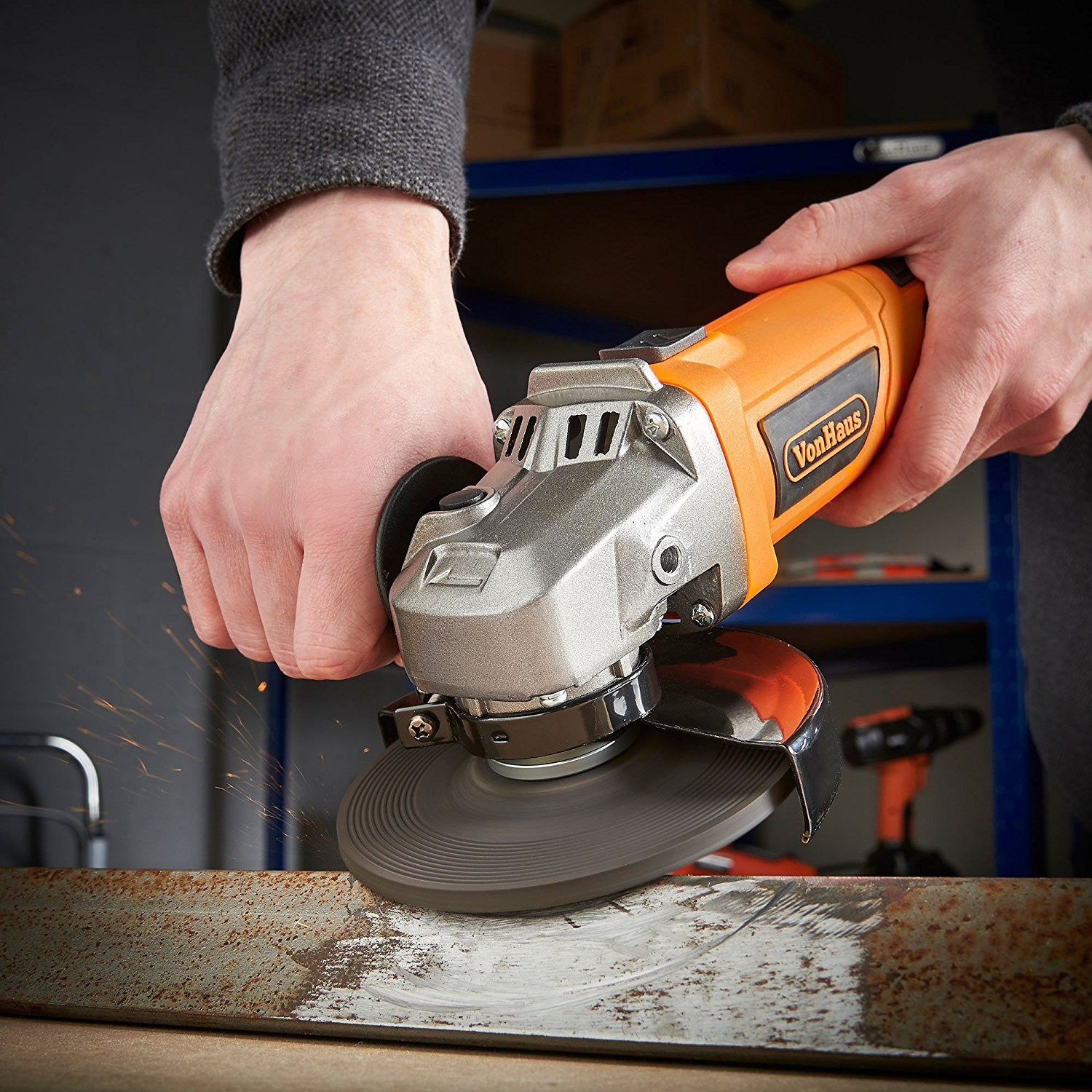 picture of a vonhaus angle grinder in action