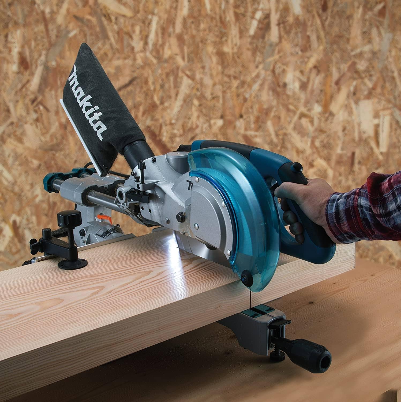 Makita mitre saw in use