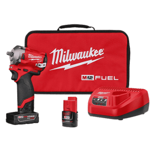 Milwaukee? 2554-22 M12 FUEL? Stubby Cordless Impact Wrench Kit, 3/8 in Drive, 3200 bpm, 250 ft-lb Torque, 4.8 in L