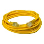 SOUTHWIRE 2587SW8802 SJTW General-Purpose Heavy-Duty Extension Cord with Lighted End, 12 AWG, 3 Wire, 125 V, 25 ft, Yellow