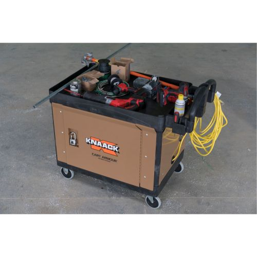KNAACK CART ARMOUR™ CA-01 Tan/Powder-Coated 16 ga Steel Work Bench Mobile Cart Security Paneling, For Rubbermaid™ Model 4520-88