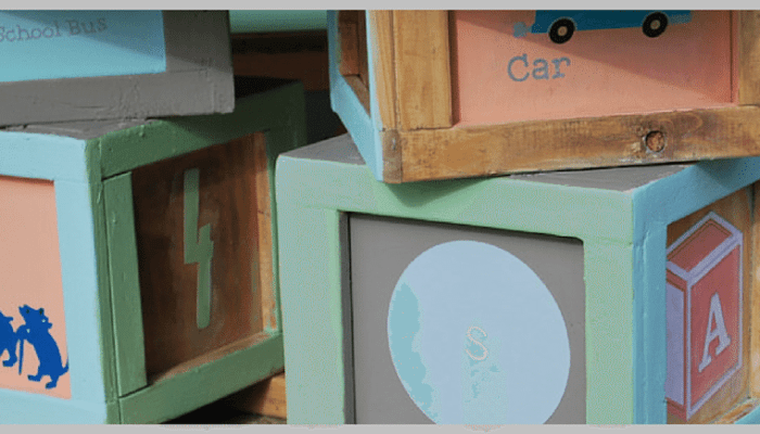 DIY Alphabet Blocks Chalkboard Play Table Set