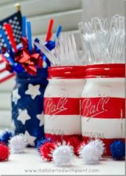 Red, white & blue mason jars By  Linda  at Itallstartedwithpaint.com