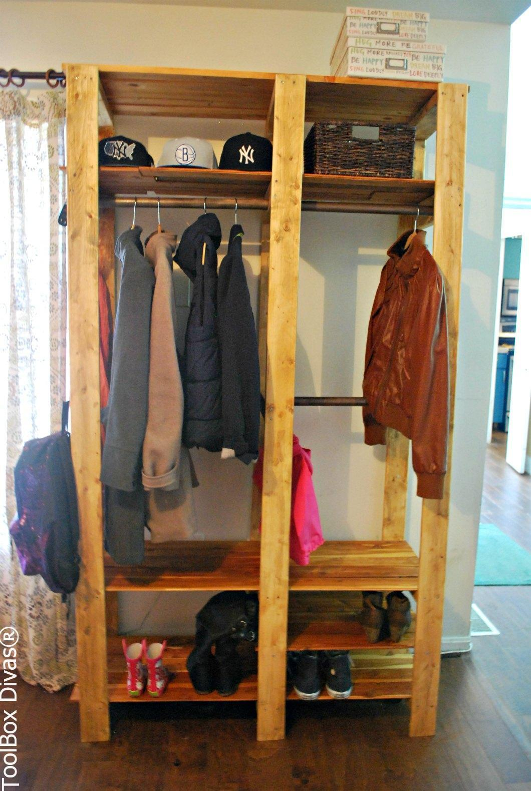 DIY Wooden Slat Entry Closet