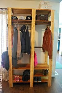 Wood Slat Entry Closet