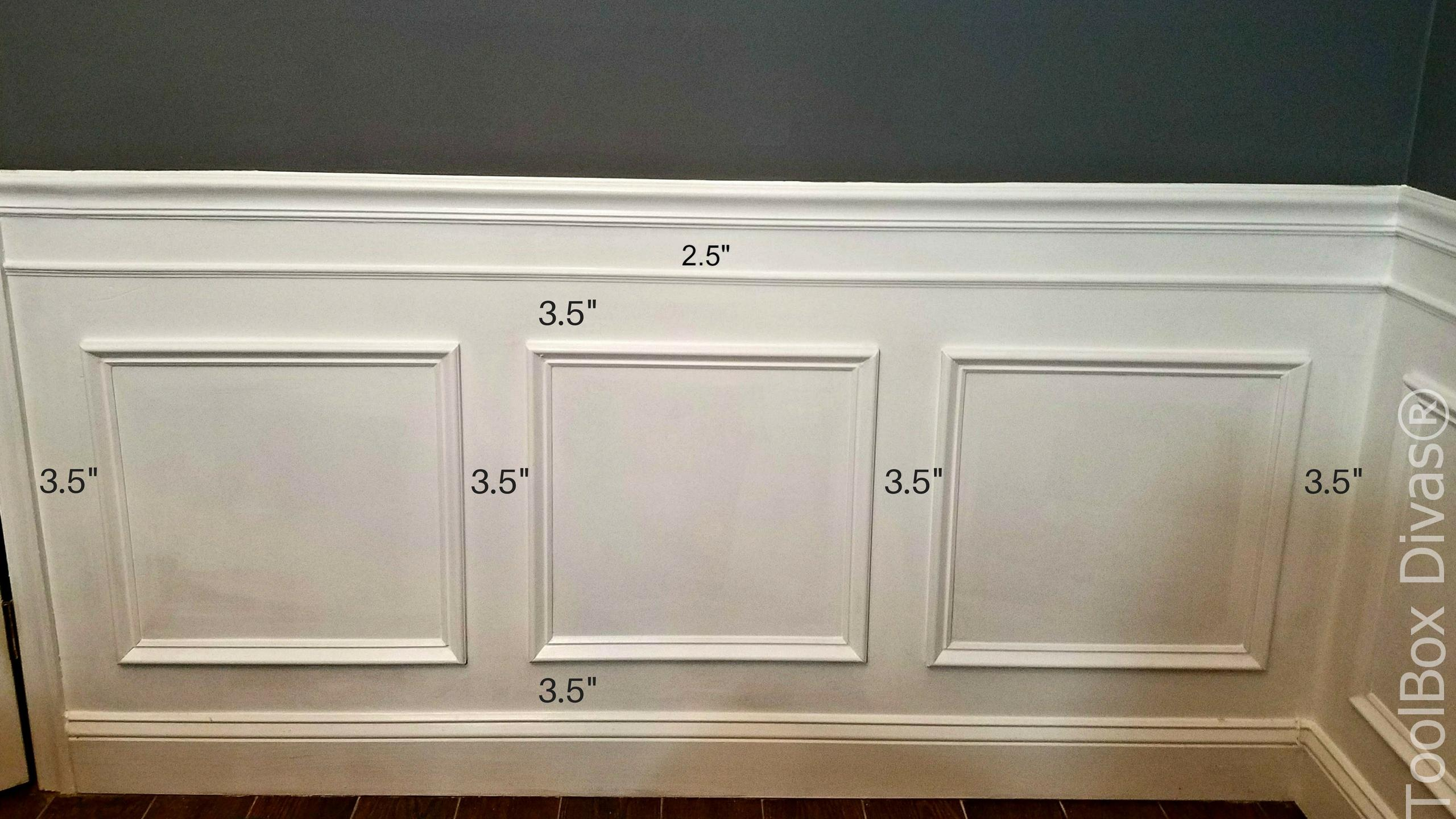 picture frame moulding below chair rail satin covers for sale how to install wainscoting toolbox divas this is the spacing of frames and upper trim