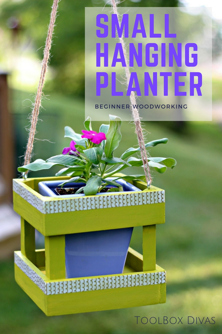 Small hanging planter perfect DIY project for the weekend crafter or beginning woodworker.  Best project to use your Ryobi cordless hot glue gun and Airstrike brad nailer.
