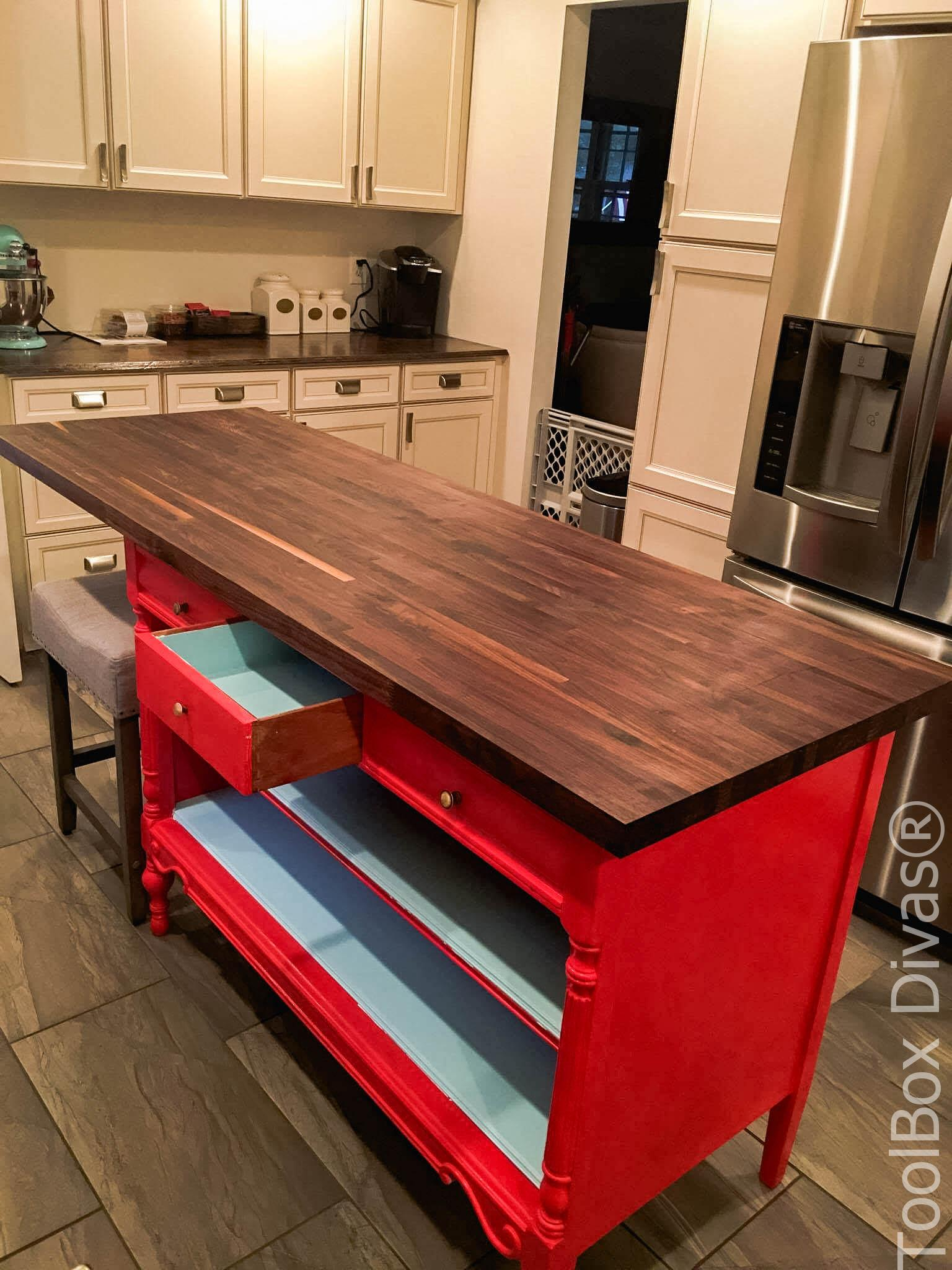 all dressed up turn an old dresser into a kitchen island toolbox rh toolboxdivas com Turning a Table into a Kitchen Island Convert Dresser to Kitchen Island