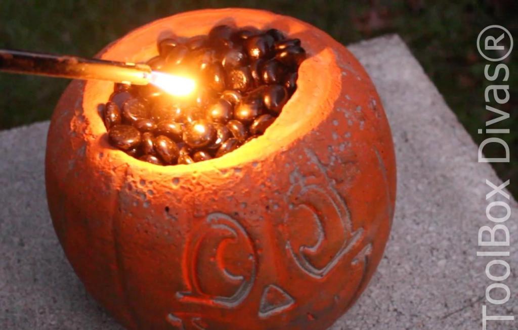 Easy Halloween DIY Project pumpkin fire pit - Toolbox Divas 12