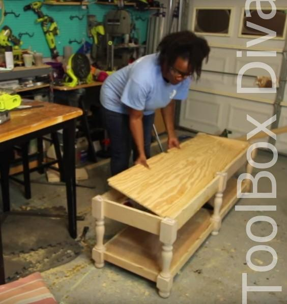 How to Build A DIY Tufted Bench - Toolbox Divas 15