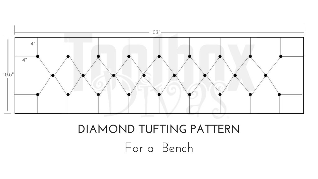 Tufting pattern - how to tuft a bench or headboard - Toolbox divas