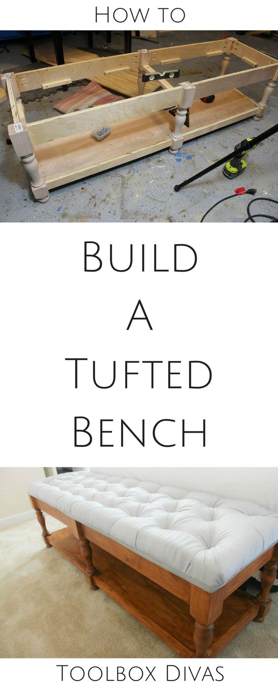 Free plans how to build a bench and tuft the top cushion. Hidden storage. bedside bench, entryway bench, Tufted bench from scratch @Toolboxdivas #DIY how to build a bench, how to tuft a bench #Woodworking build plans