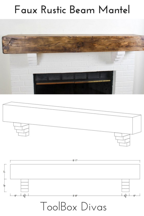 How to Build a DIY Faux Rustic Beam Mantel Shelf - Toolbox Divas