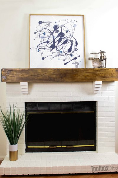 DIY Rustic Fireplace Mantel Toolbox Divas (14 of 25)