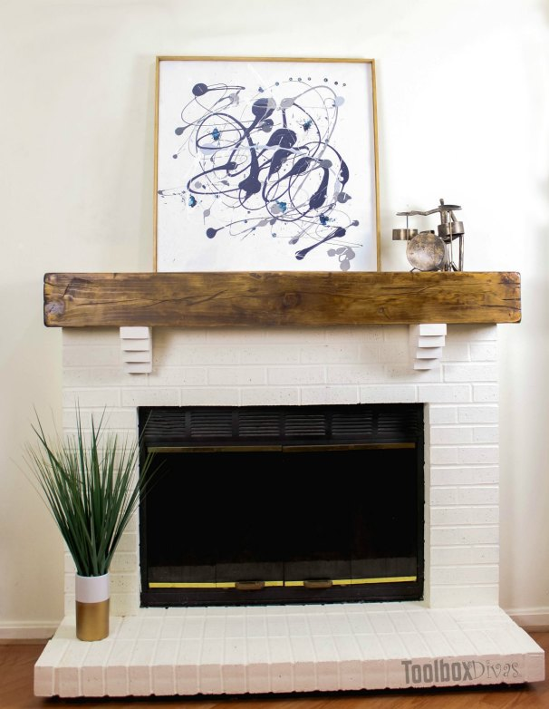 How to build a rustic faux beam mantel toolbox divas - How to make a brick fireplace look modern ...