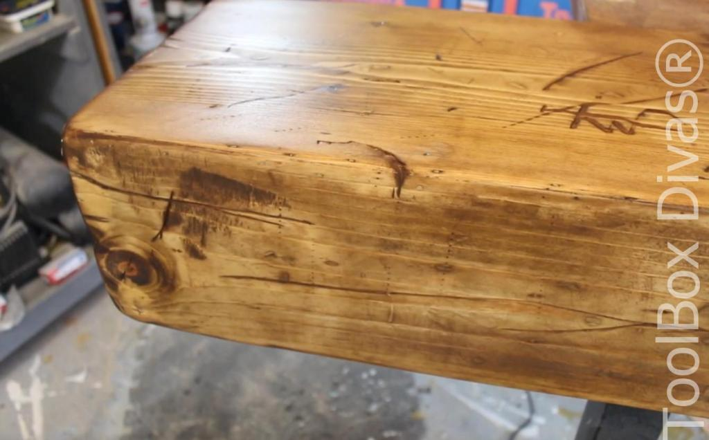 How to build a Rustic Faux wood beam mantel or floating shelf - Toolbox Divas 27