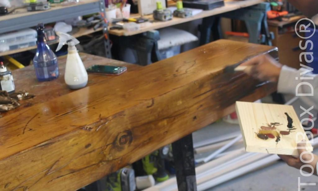 How to build a Rustic Faux wood beam mantel or floating shelf - Toolbox Divas 26